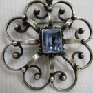 MAGNIFICENT BLUE TOPAZ SILVER FLOWER BROOCH ISRAEL