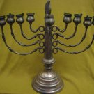 RARE ARTISTIC CANDLE / OIL SILVER PLATED LARGE HANUKKAH MENORAH LAMP ISRAEL