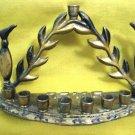 PITCHERS ~ Vintage Enamel Brass Hanukkah Menorah Lamp, Israel 1950's