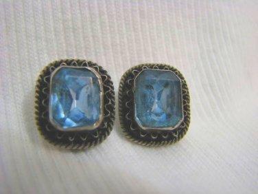 PALESTINE FILIGREE SILVER BLUE TOPAZ CLIP ON EARRINGS
