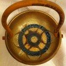 LAPID VINTAGE UNUSUAL ISRAEL ART WOOD & CERAMIC BASKET by HANNA 1950'S