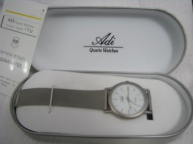NEW ADI WHITE FACE GENT'S QUARTZ WATCH IN BOX ISRAEL