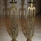 "PAIR OF ISRAELI SHABBAT BRASS CANDLESTICKS 11"" TALL"