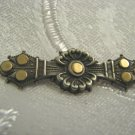 ANTIQUE VICTORIAN SILVER & GOLD ORNAMENT BROOCH ENGLAND 1894