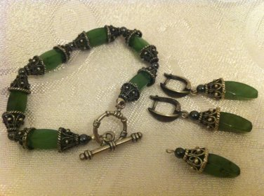 STUNNING FILIGREE STERLING SILVER JADE SET OF BRACELET,EARRINGS & PENDANT ISRAEL