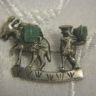 VINTAGE MINER & BURRO 900 SILVER BROOCH WITH COLOMBIAN EMERALD