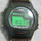 VINTAGE CASIO W-94H ALARM CHRONO GREEN FACE MENS WATCH
