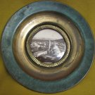 VINTAGE ISRAEL TIBERIAS VIEW BLACK & WHITE PICTURE GREEN BRASS PLATE