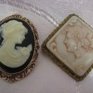 TWO VINTAGE GOLD TONE CAMEO PINS / BROOCHES, ISRAEL, SIGNED AGIL