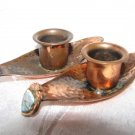 EILAT ~ PAIR OF VINTAGE SHABBAT COPPER CANDLE HOLDERS W/ ENAMEL SHIELDS ISRAEL