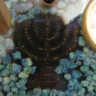 MENORAH Decorated with Eilat Stone Desktop Set Israel Vintage