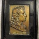 SCHILLER GERMAN POET ANTIQUE EMBOSSED BRASS PORTRAIT 19TH CT ~ WOOD FRAME