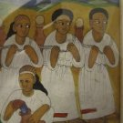 """BRINGING WATER FROM RIVER"" TRADIONAL ETHIOPIAN VINTAGE PAINTING"