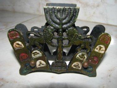 TRIBES OF ISRAEL ~ MENORAH ~ LIONS BRASS NAPKIN HOLDER