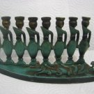 HANUKKAH PITCHERS * COLORED BRASS MENORAH LAMP ISRAEL