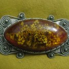 Captivating Russian Amber with Flower Bouguet Brooch