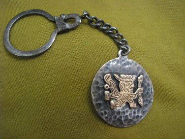 OLD CUZCO Peruvian Solid 18k Gold & 925 Silver Keychain 1960's