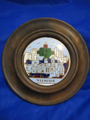 Vintage VILNIUS LITHUANIA Enamel Copper Wall Decor