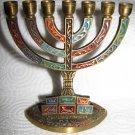 JERUSALEM Vintage Enamel Brass Shabbat Menorah ISRAEL