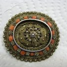 Fabulous Filigree Gilt Silver Coral Brooch Israel 1950s