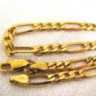 """Vintage Italian 18k gold plated 925 silver Figaro chain Necklace 22"""""""