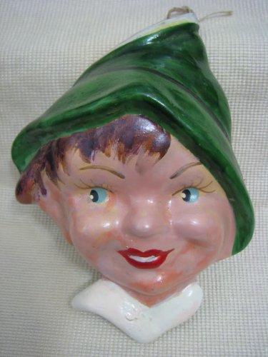 Vintage Handpainted Ceramic Boy Head Israel 1940-50