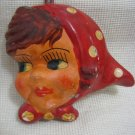 Vintage Handpainted Ceramic Girl Head Israel 1940-50
