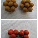 Vintage Two pairs of Wooden Clip Earrings Finland