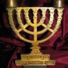 UNUSUAL MENORAH STYLE BRASS SHABBAT CANDELABRA ISRAEL