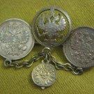 Russia 10 kopeks 1910-1912 coins WWI MEMORIAL BROOCH