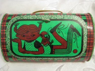 """GIRL & MONKEY"" NORMA ADORABLE SOVIET RUSSIAN CHILDREN TIN SCHOOL LUNCH BOX USSR"