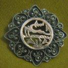 DEER Antique 9k Gold & 800 Silver Marcasite Brooch