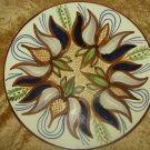 Hava Schlesinger Glazed Art Ceramic Floral Plate, Signed, 1977, Israel