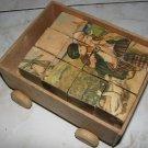 Sweet Antique Set of Children's Wooden Blocks / Cubes & Carrying Wagon w/ Scenes