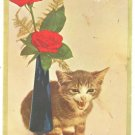 SWEET VINTAGE COLORFUL KITTEN & ROSES SHANA TOVA PC
