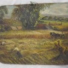"ANTIQUE ""WORKING IN THE FIELDS"" SIGNED MOLNAR ORIGINAL OIL PAINTING"