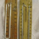 UNUSUAL COLLECTIBLE SET OF 2 VINTAGE WOOD WALL THERMOMETERS