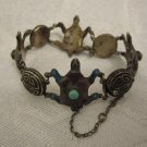 ANTIQUE CHINESE TURTLES ENAMEL STERLING SILVER TURQUOISE BRACELET