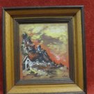 ISRAEL SIGNED WALD HAND PAINTING ON FIBERBOARD 16x14.5 cm HOUSE ON THE HILLSIDE