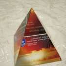 ISRAEL LUCITE PYRAMID PAPER WEIGHT IDF COMMANDERS ROMACH BATTALION