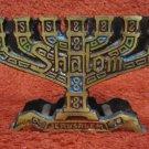 MENORAH ~ BEAUTIFUL VINTAGE ISRAEL BRASS NAPKIN HOLDER SHALOM JERUSALEM
