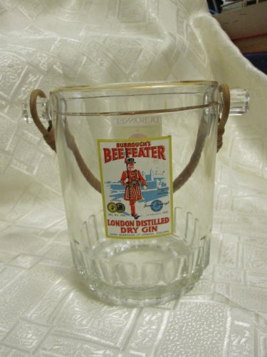 BEAUTIFUL VINTAGE ADVERTISING BEEFEATER GIN ICE BUCKET DUBONNET BRAIDED HANDLE