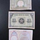 LOT OF 3 MOROCCO PAPER BILLS: 5, 10, 50 MAROC FRANCS.14-11-41, 1-3-44, 2-12-49