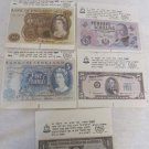 LOT OF 5 VINTAGE 1980 ISRAEL TAMAR CHEWING GUM WRAPPERS BANKNOTES SERIES