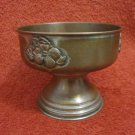 ANTIQUE 19th CENTURY GERMAN FLORAL BRASS BOWL FOOTED DISH