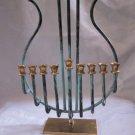 VINTAGE ISRAEL 24k GOLD & SILVER PLATED KOREM HANUKKAH MENORAH LAMP JUDAICA