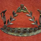 "UNUSUAL VINTAGE ""PITCHERS"" BRASS HANUKKAH MENORAH LAMP JUDAICA MADE IN ISRAEL"