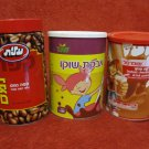 ISRAEL 3 COFFEE CHOCO CHOCOLATE LITHO TIN BOXES HEBREW SHUFERSAL ELITE MEGA