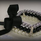 3 Strand Faux Pearl  Bead Bracelet with Ribbon Bow (Silver-Black)