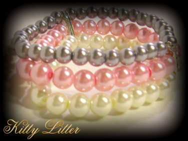 3 Strand Faux Pearl  Bead Bracelet with Ribbon Bow (Pink-Silver)